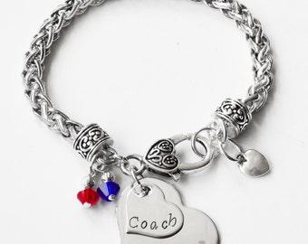 Hand Stamped, Synchronized Swim Bracelet, Team Color,Swarovski Bracelet, Synchro Jewelry,Synchro Girl Bracelet, Synchro Coach(Made to Order)