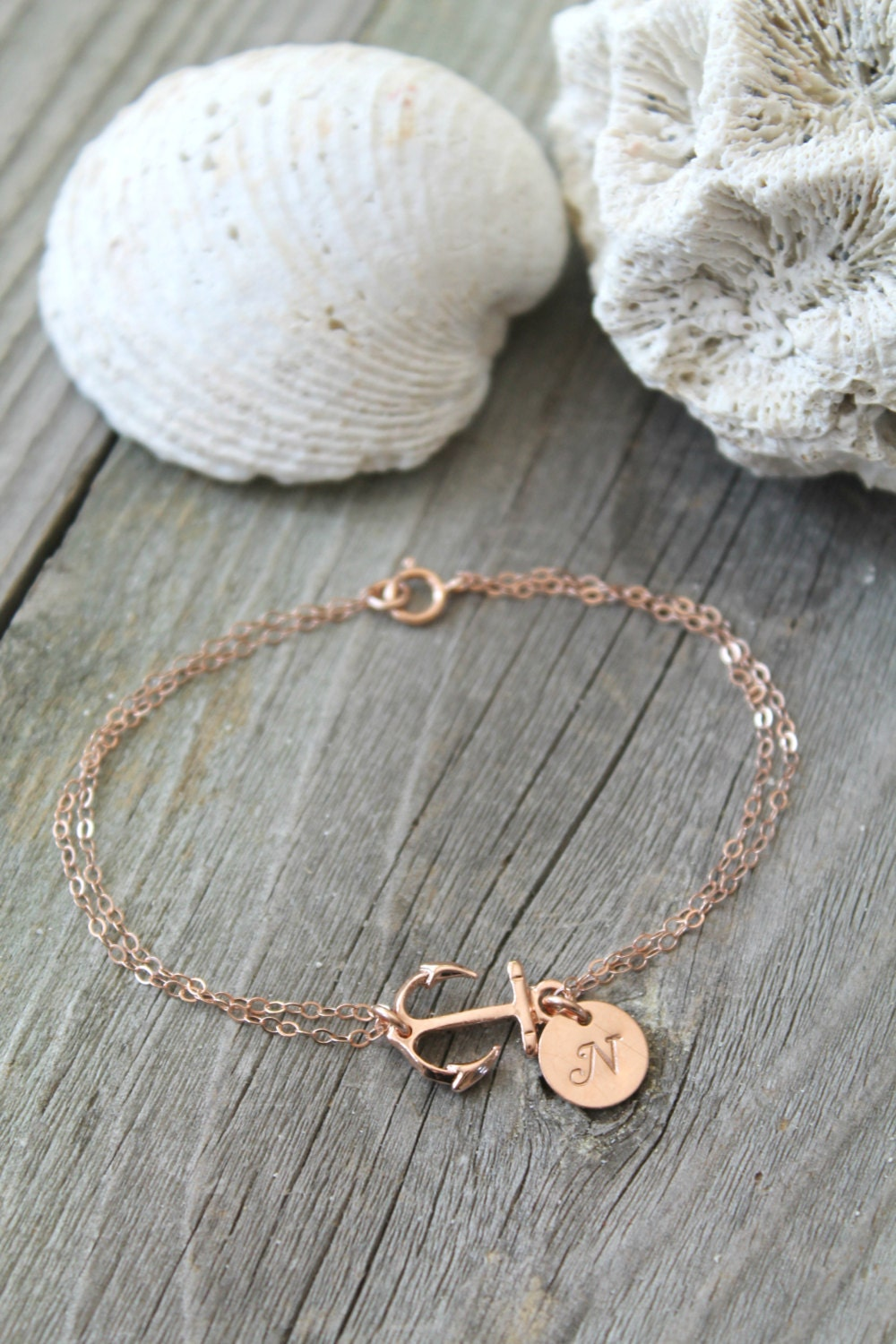 Personalized 14k Rose Gold Filled Anchor Bracelet With Custom