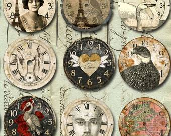 30 VINTAGE Art Watch CLOCK Faces with Animals & More-  INSTANT Printable Digital Sheet