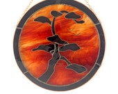 Stained Glass Panel - Tree Silhouette - Original Artwork - Modern Glass Art