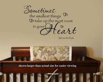 Sometimes the smallest Things Winnie the Pooh Quote Nursery VInyl Wall Lettering Decal LARGE 36Wx22H More Sizes & COLORS