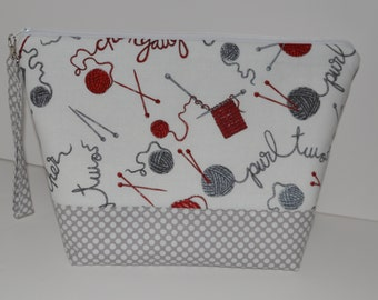 Knitting words and yarn balls project bag