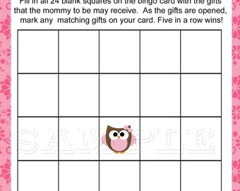Baby Owl, BINGO Game, Printable, Pink Baby Shower,  Instant Download
