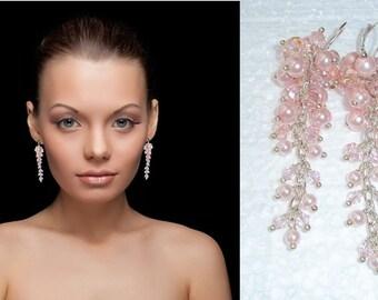 Cascading Earrings, Pearl Waterfall Earrings, Long Pearl Earrings, Pearl Glass Earrings, Blush Earrings, Statement Bridal Earrings