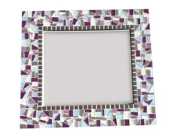 Large Purple and Gray Mosaic Mirror // Made to Order