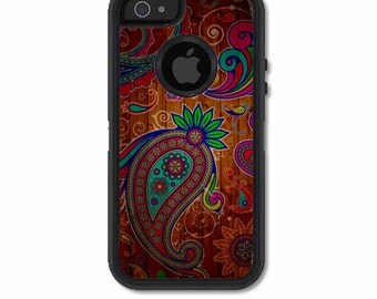 Skin FOR the OtterBox Defender Case for iPhone 5 or 5S - Paisley pattern on Wood, Vintage - Free Shipping OtterBox Case NOT included