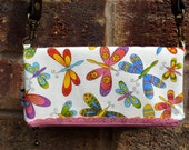 Fold Over Clutch, One of a kind Unique butterfly cream and multicoloured Clutch, fold over Purse, Fold Over Bag