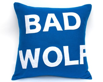 Bad Wolf- Appliqued Eco-Felt Pillow Cover in Bright Blue and White - 18 inches