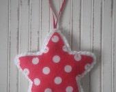 SALE~ Spotty Felt Handmade Star ~Childrens Bedroom decoration ~ Red & White Polka Dot