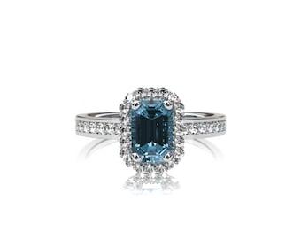 Emerald cut Aquamarine halo engagement ring, diamond ring, white gold engagement, Aquamarine halo, diamond, light blue, vintage, emerald cut