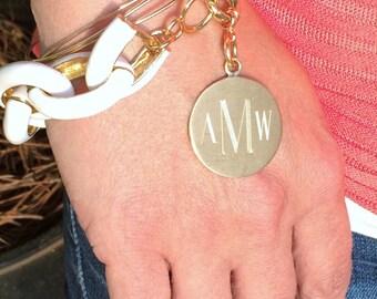 Fun Monogram Bracelet Enamel White, Mint Green, Coral, or Blue Personalized for Free Fashion Link Bracelet