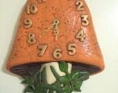 Vintage Orange Mushroom Clock