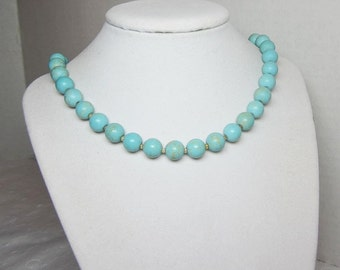 Long Turquoise Beaded Chunky Big Bead Necklace Large Round 10mm Beads