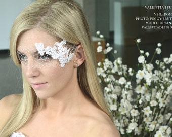 """Birdcage Veil, Millinery Netting and Lace Headpiece - """"ROMANCE"""""""