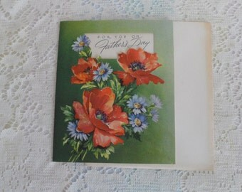 Father's Day Vintage Greeting Card Die Cut Poppies and Daisies 1950's Paper Ephemera Forget me Not