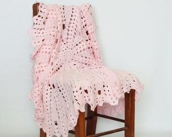 Crochet Baby Blanket Afghan Round Lacy Pink - Newborn, Baby Girl, Crib Bedding, Nursery Decor, Baby Shower Gift, Lap Afghan