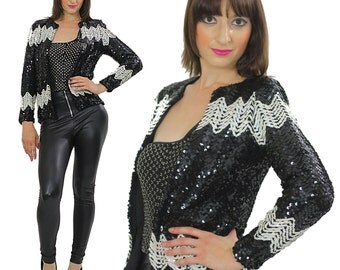 Vintage Sequin jacket Sequin beaded deco jacket top evening black white  Gatsby dress jacket 80s beaded party top  S