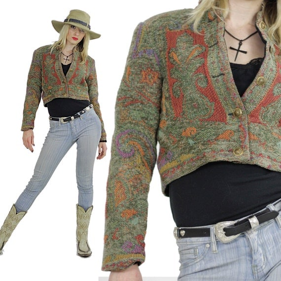 Southwestern jacket cropped Festival tribal woven button up Hippie embroidered vintage 1980s cropped top Small