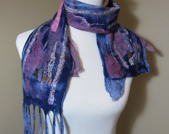 "Nuno felted scarf pink, purple, and lots of texture- ""Purple Sparkles"""