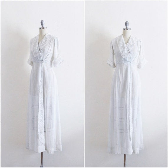 Vintage 1910s Dress | Antique Dress Wedding Gown Edwardian Downton Abbey XS X Small Extra Small | Sailor Knot Dress