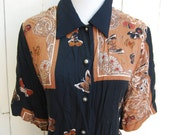 BUTTERFLY BLOCKED Black and Tan Graphic Design Print Short Sleeve Button Down Shirt