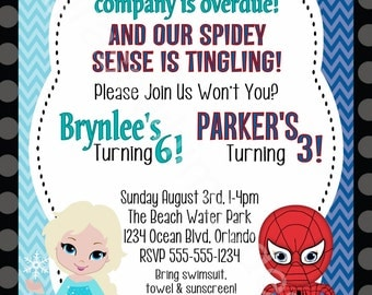Elsa, Frozen, Spiderman, Brother, Sister, Twins Birthday Party Invitation