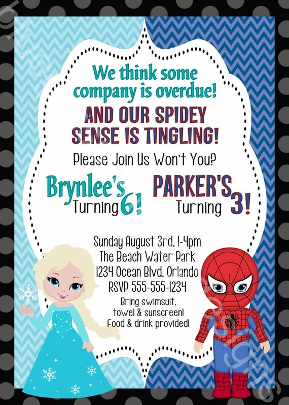 elsa frozen spiderman brother sister twins birthday party