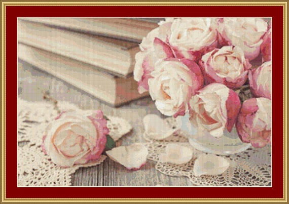 Pink Roses And Old Books Cross Stitch Pattern /Digital PDF Files /Instant downloadable