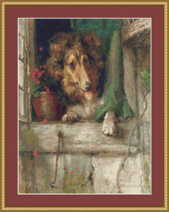 A Collie At The Window Cross Stitch Pattern /Digital PDF Files /Instant downloadable