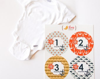 Nautical Theme Baby Sticker Gift Set - Gerber 0-3 Month ONESIE, Sailor Sticker Set of 12 - Nautical Design - Baby Boy Photo Prop