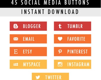 45 Rectangular Blog Social Media Buttons for Blog/Website/more - Instant Download - Red/Yellow/Orange Pack