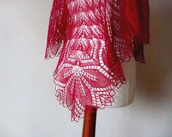 Red lace shawl - hand knitted from soft merino wool