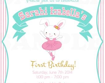 Baby First Birthday Ballerina Easter Bunny Theme Birthday Invitation & Banner - Printable File