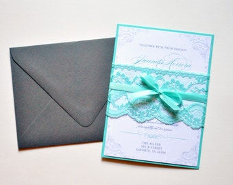 Teal Lace Wedding Invitations, Custom Lace Wedding Invitation, Teal Wedding Invitation Card, Custom Wedding Invitations - Wedding Invitation