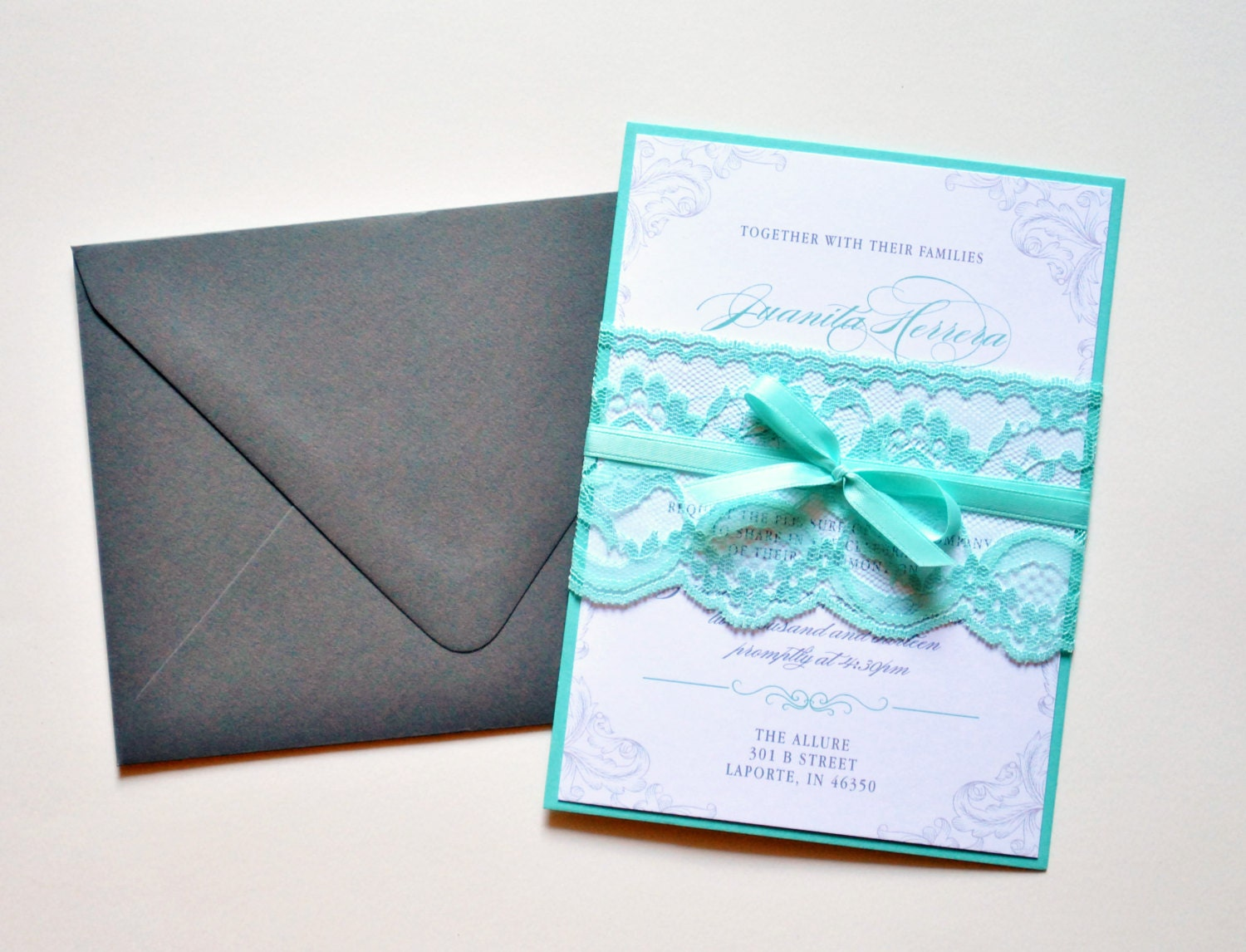 Lace Wedding Invitation: Teal Lace Wedding Invitations Custom Lace Wedding Invitation