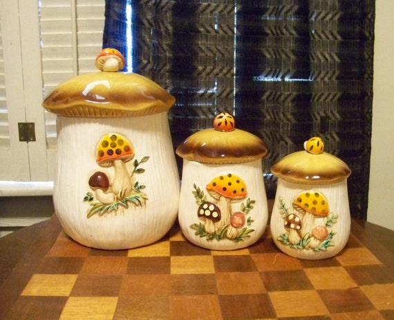 1978 MERRY MUSHROOM CANISTER Ceramic Set of Three Sears Roebuck and Company