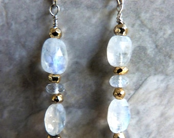 Blue Flash Moonstone Dangle Earrings w Gold Pyrite & Sterling Silver, Blue Flash, Handmade, Faceted Gemstone
