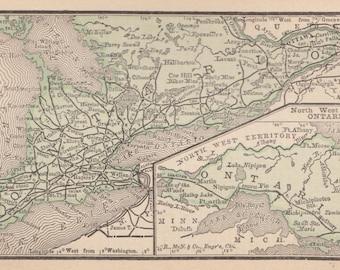 RARE Size ONTARIO Map of Ontario Canada MINIATURE Vintage 1886 Map  Plaindealing 2896