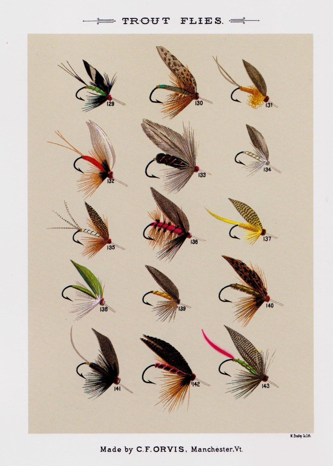 Fly fishing print trout fishing flies print beach house decor for Fly fishing posters