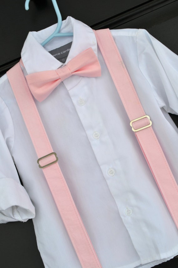 Little Boy Bowtie And Suspenders Solid Light Pink Bowtie
