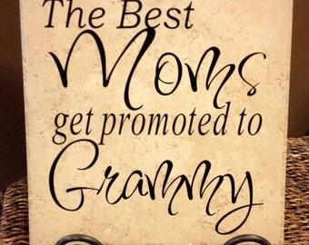 The Best Moms Get Promoted To Grammy Vinyl Art Decorative Tile