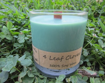 4 Leaf Clover. 11oz Soy Glass Candle with Wood Wick
