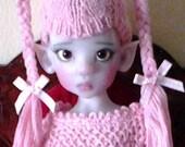 Pink Lollipop cashmere hat for bjd Kaye Wiggs
