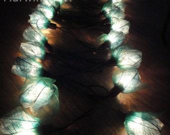 35 turquoise Rose Flower Fairy String Lights Party Patio Wedding Floor Table Hanging Gift for her Home Living Bedroom Floral Decor 3.5m