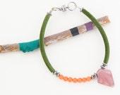 Tribal beaded bracelet.Colorful spike bracelet. Boho velvet bracelet. Arrow.
