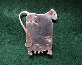 Vintage COW Brooch in Sterling Silver and Copper by SILVER-WARE