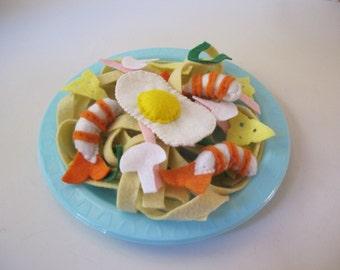 Felt Play Food Pasta, Play Kitchen Food, Felt food Spaghetti, Felt Egg, Felt Food Prawns,