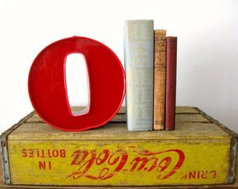 """Vintage Salvaged Letter """"O"""" Sign, Red Letter O, Vintage Metal and Plastic Sign Letter, Electric Light Up Letter"""