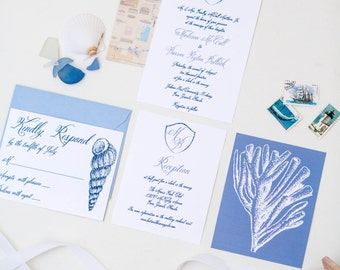 Custom Coastal Wedding Invitation Suite