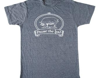 Praise the Lard Men's Foodie T-shirt, bacon shirt, chef t-shirt, pig shirt, butcher shirt, paleo, crossfit t-shirt, funny men's t-shirt food